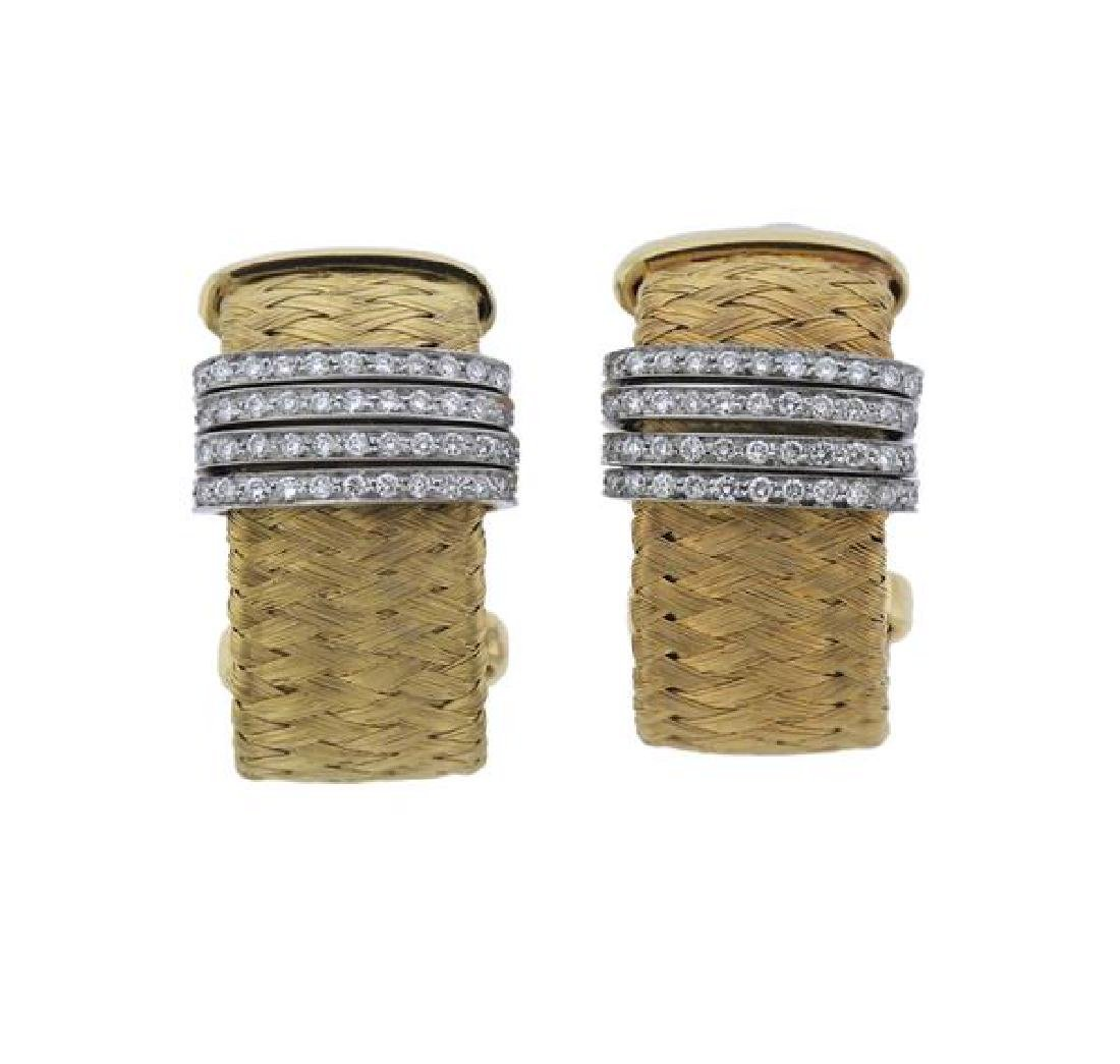 Roberto Coin 18K Gold Diamond Woven Earrings