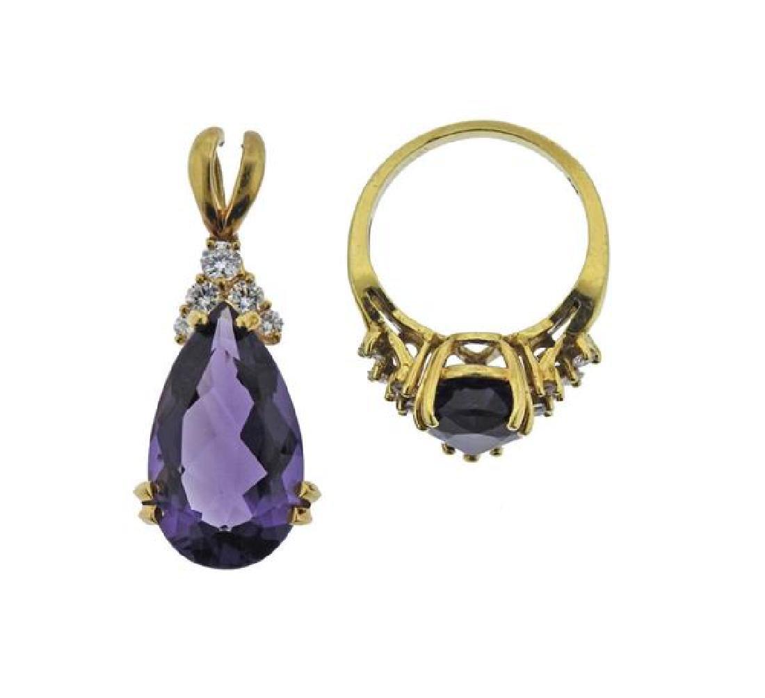 18K Gold Diamond Amethyst Pendant Ring Set