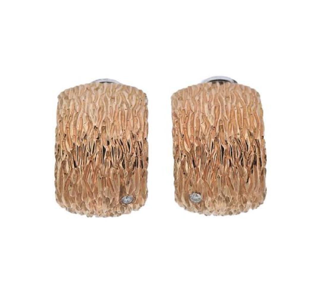 Roberto Coin Elephanto 18K Gold Diamond Earrings