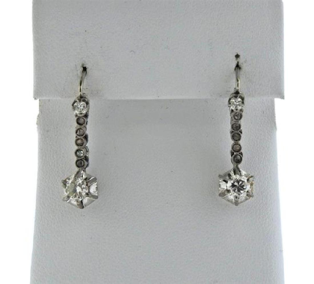 Antique 18K Gold Diamond Earrings
