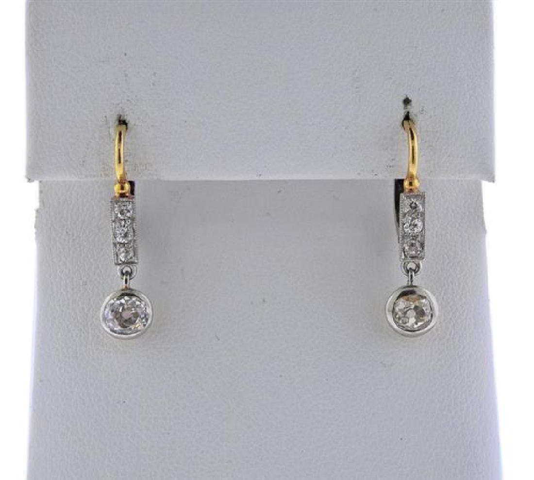 Antique 18K Gold Diamond Drop Earrings