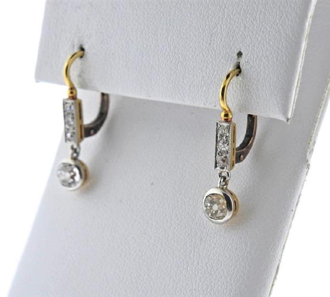 Antique 18K Gold Diamond Drop Earrings - 2