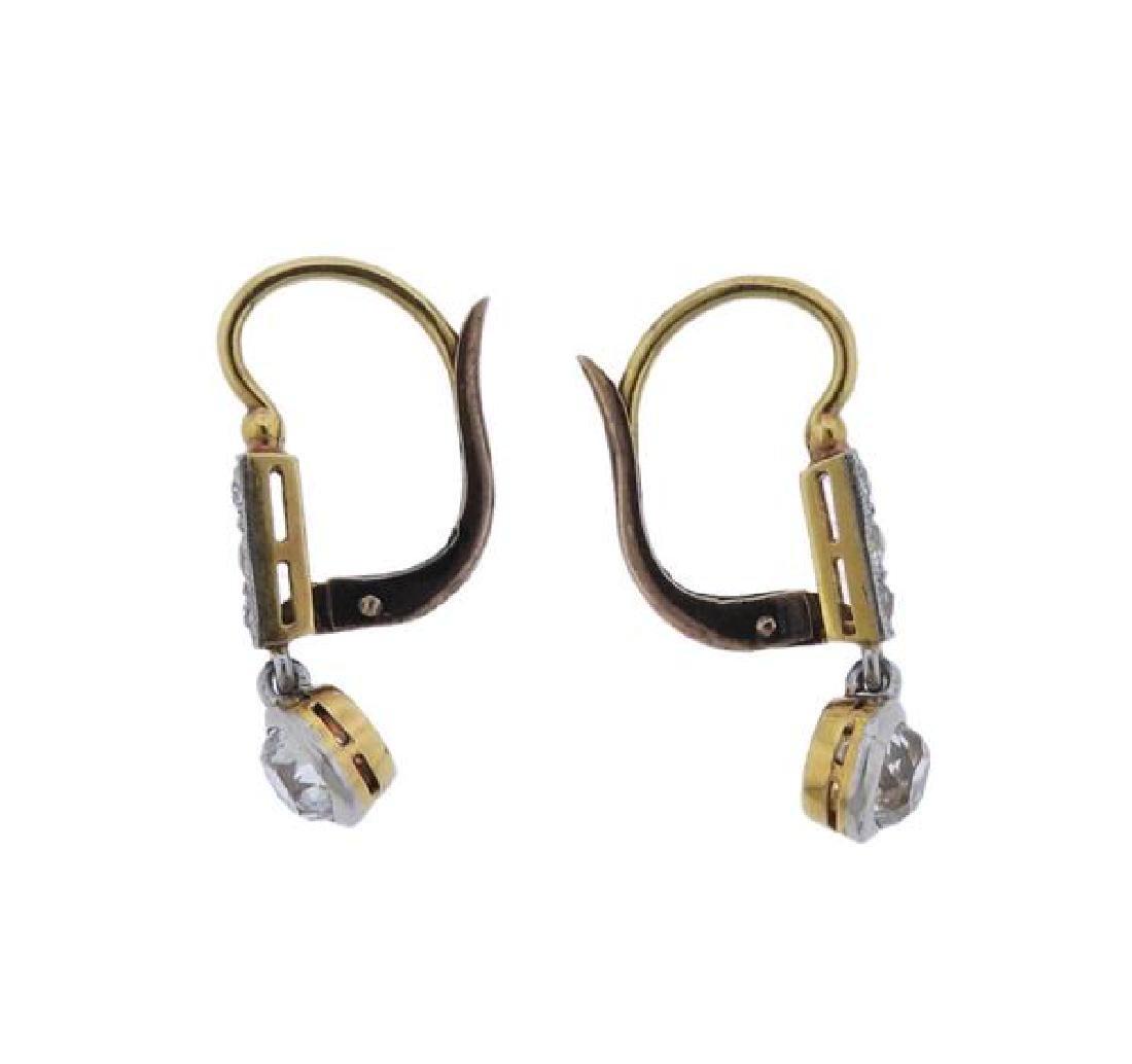 Antique 18K Gold Diamond Drop Earrings - 3