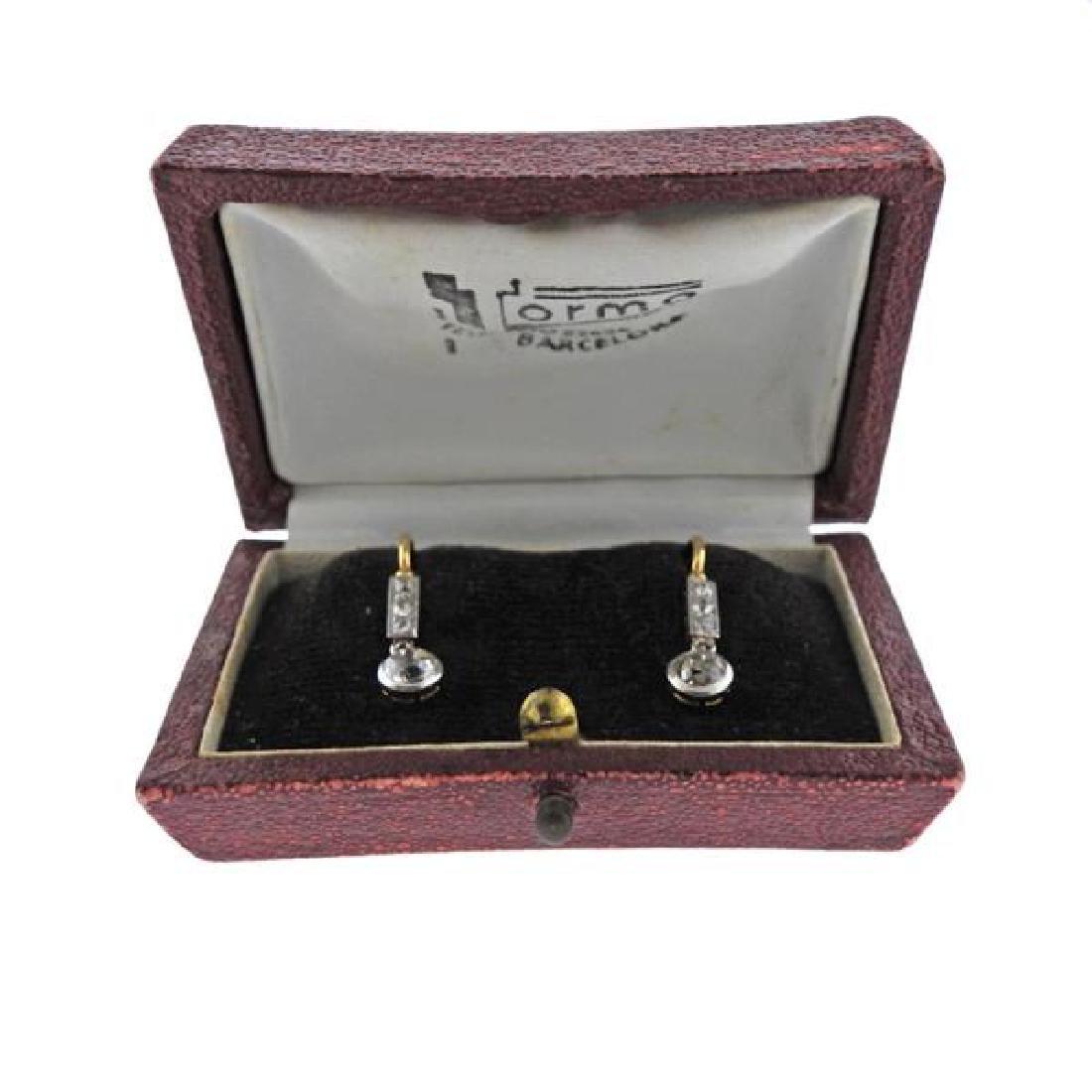 Antique 18K Gold Diamond Drop Earrings - 5