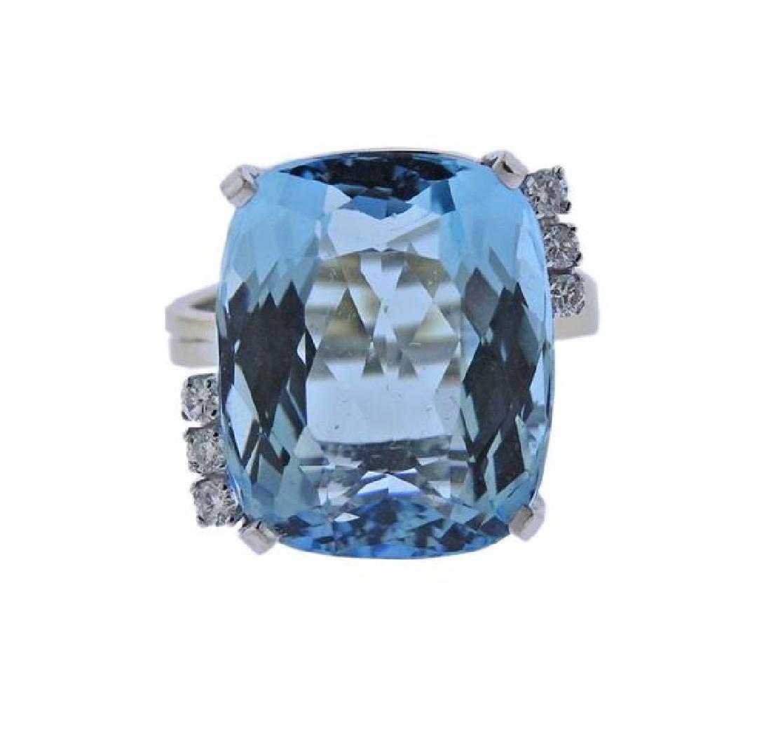 18K Gold Diamond Aquamarine Ring