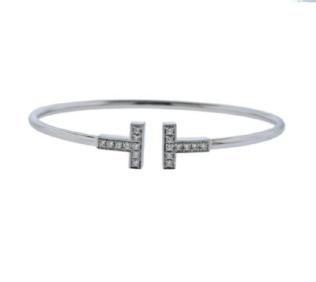Tiffany & Co 18K Gold Diamond T Wire Bracelet