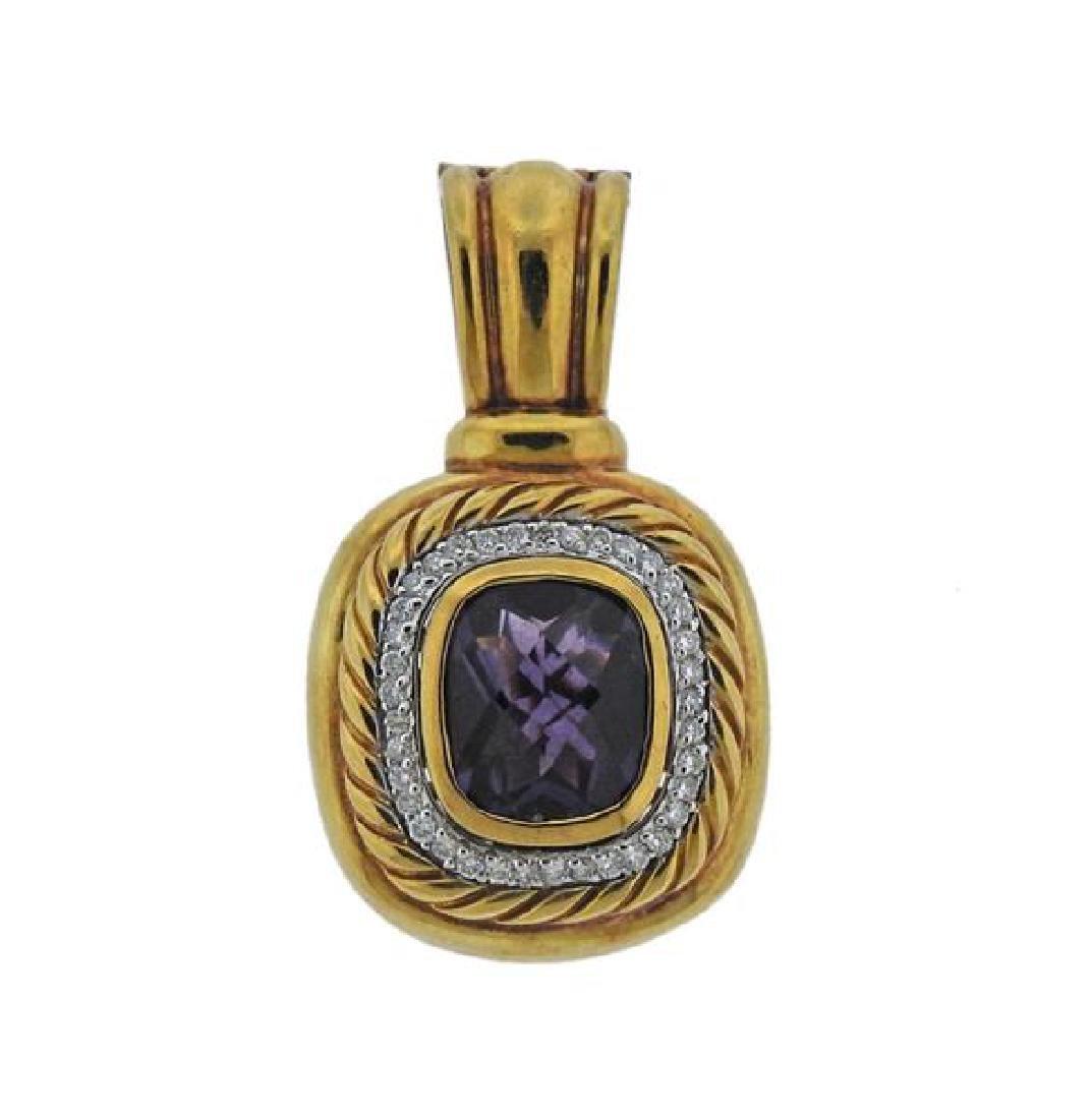 David Yurman 18K Gold Diamond Purple Gemstone Pendant