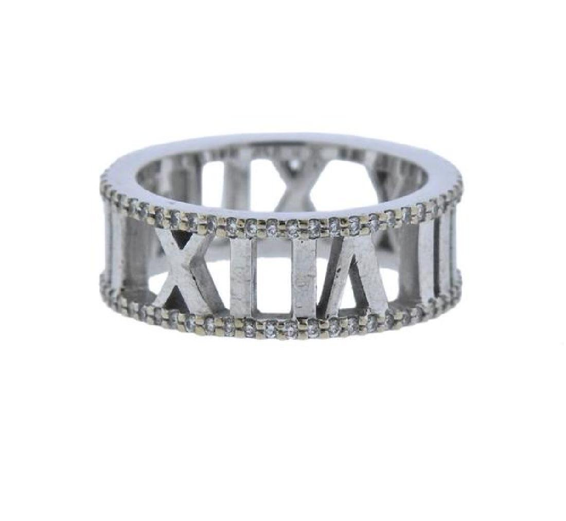 Tiffany & Co Atlas 18K Gold Diamond Open Ring