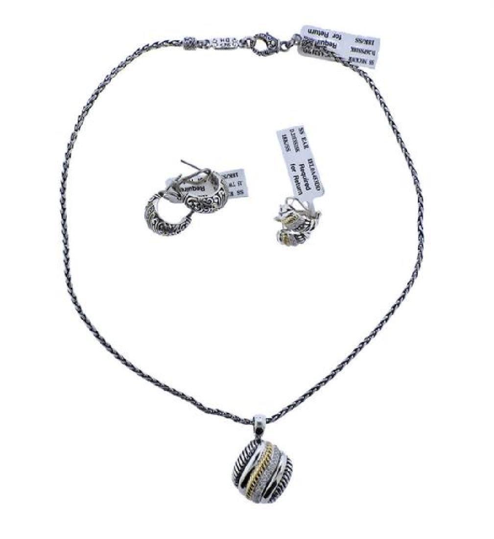 Effy 18K Gold Sterling Diamond Pendant Necklace
