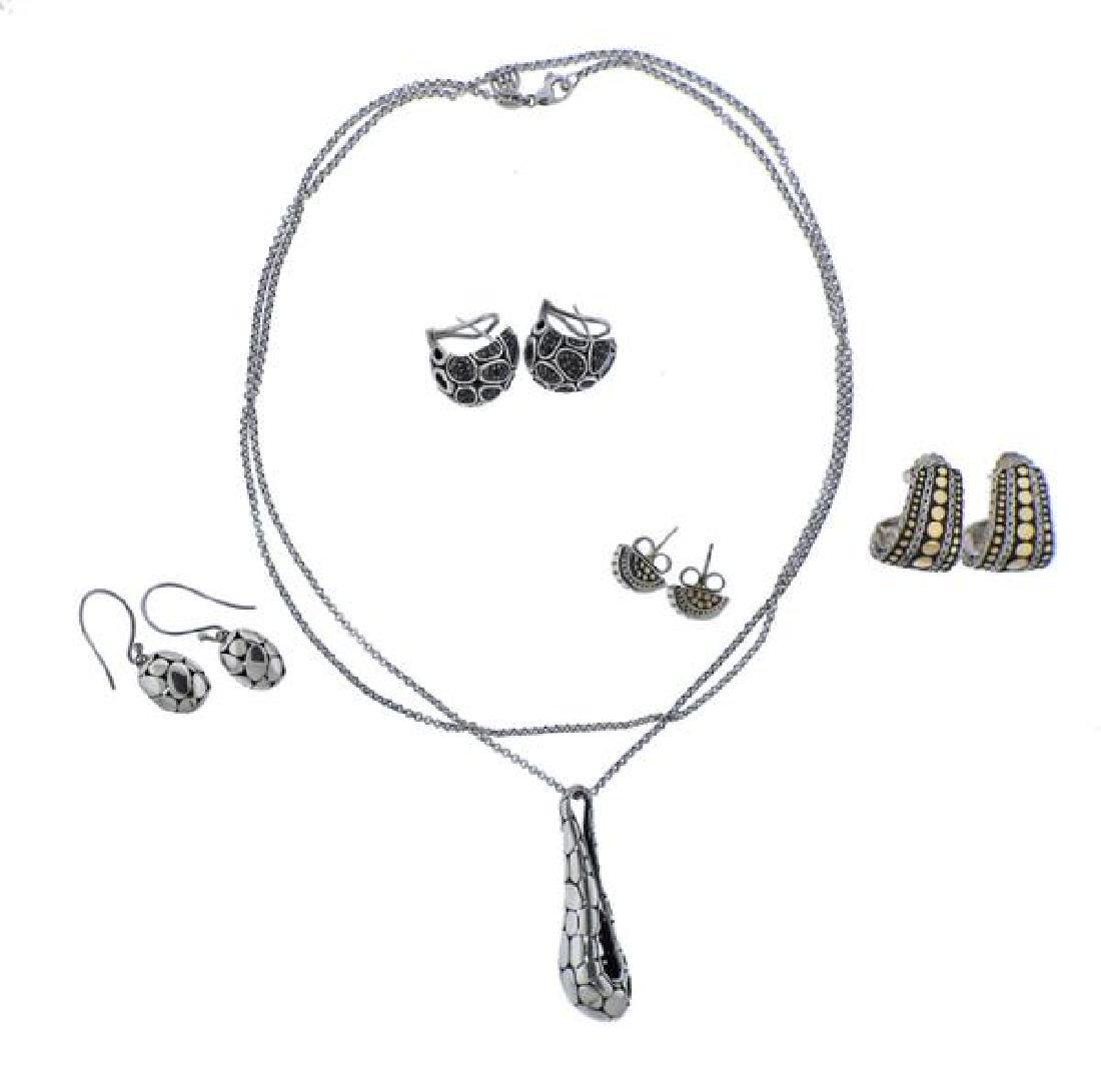 John Hardy 18K Gold Silver Black Stone Necklace