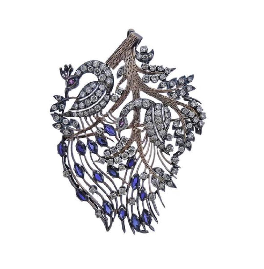 14K Gold Silver Diamond Peacock Brooch Pendant
