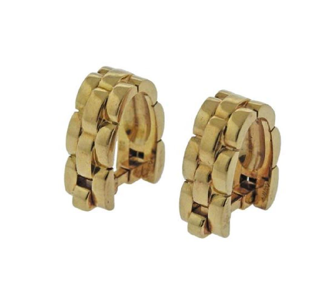 Cartier Panthere 18K Gold Stirrup Cufflinks