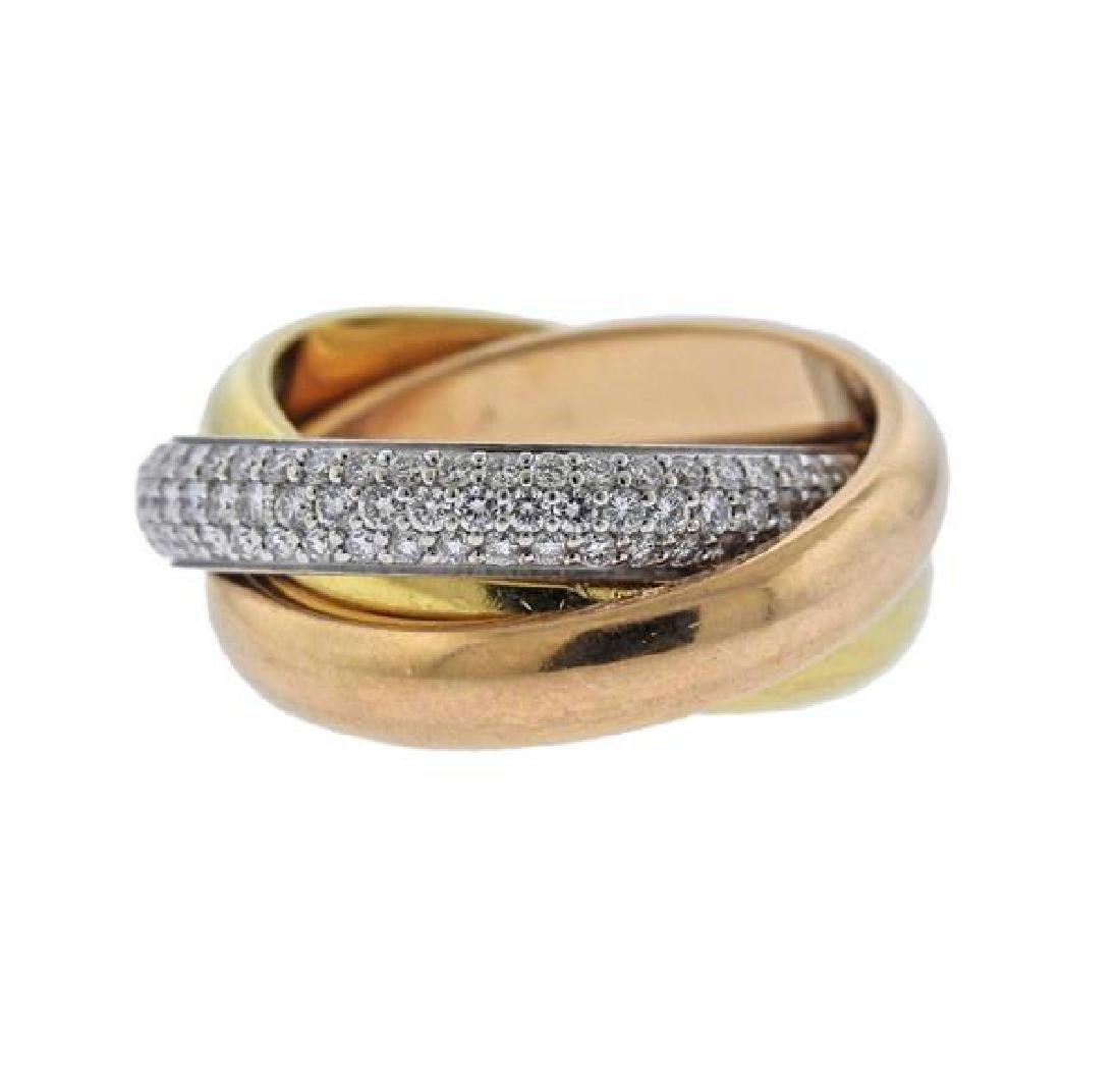 Cartier Trinity 18K Tri Color Gold Diamond Ring