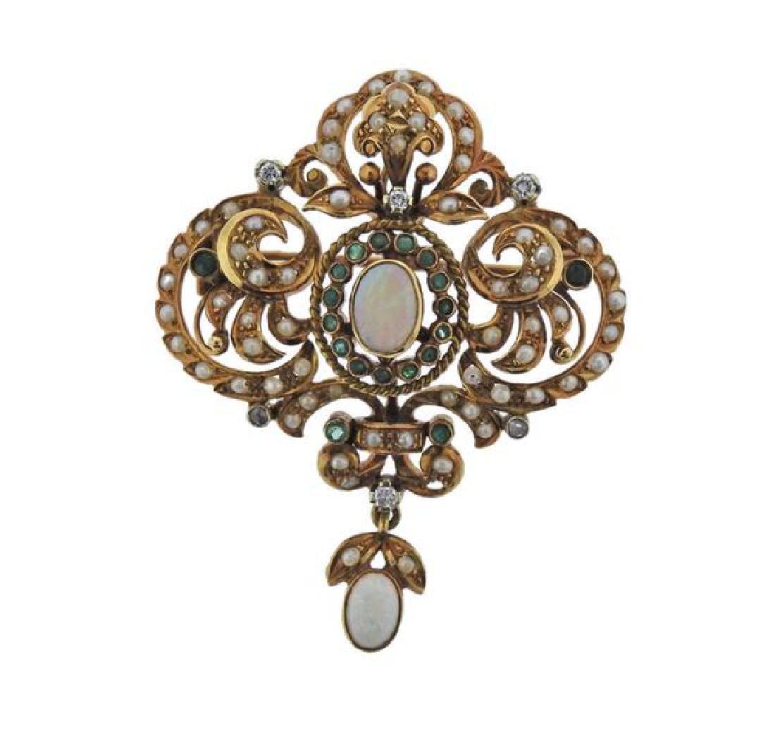18K Gold Diamond Opal Emerald Pearl Brooch Pendant