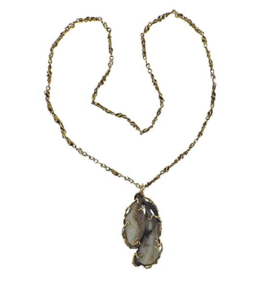 14K Gold Agate Free Form Pendant Necklace