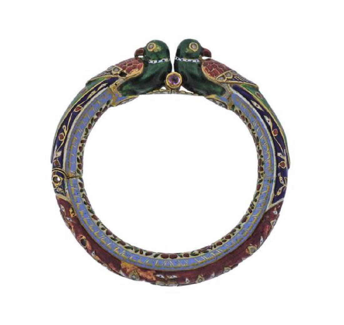 Indian Gold Diamond Gemstone Enamel Bracelet