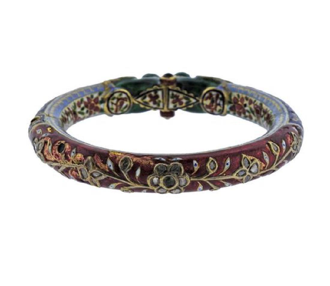 Indian Gold Diamond Gemstone Enamel Bracelet - 2