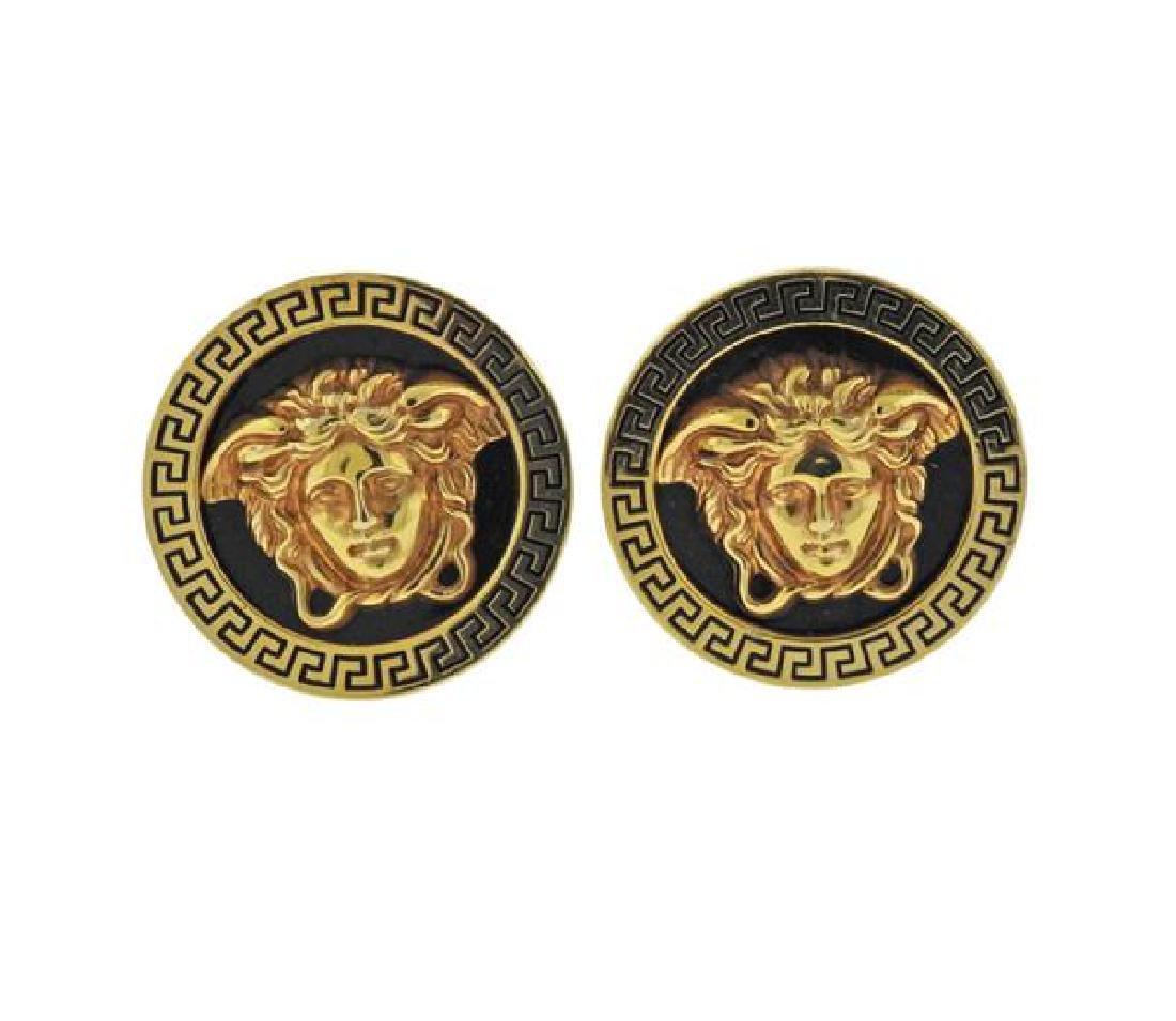 Versace 18K Gold Enamel Medusa Earrings