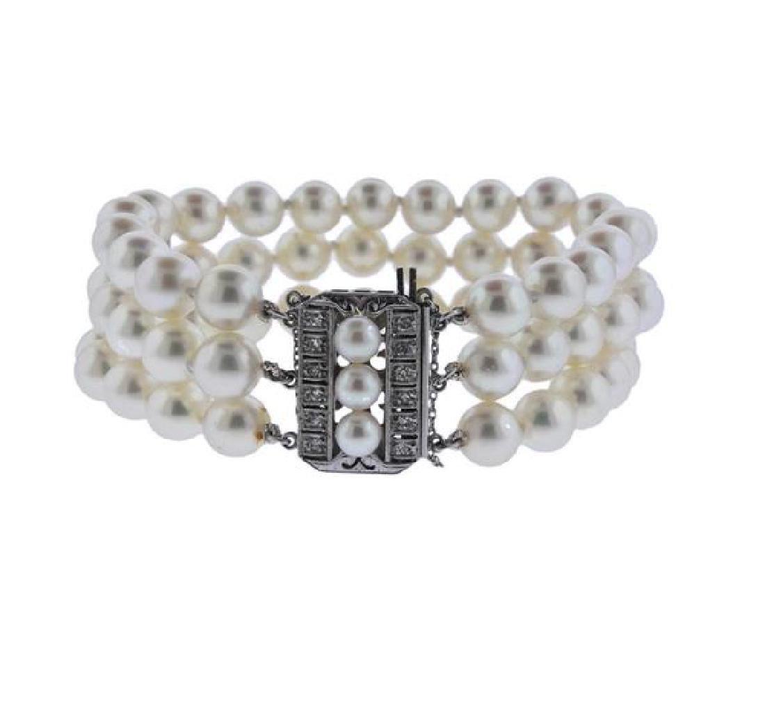 Mikimoto 14K Gold Diamond Pearl Bracelet