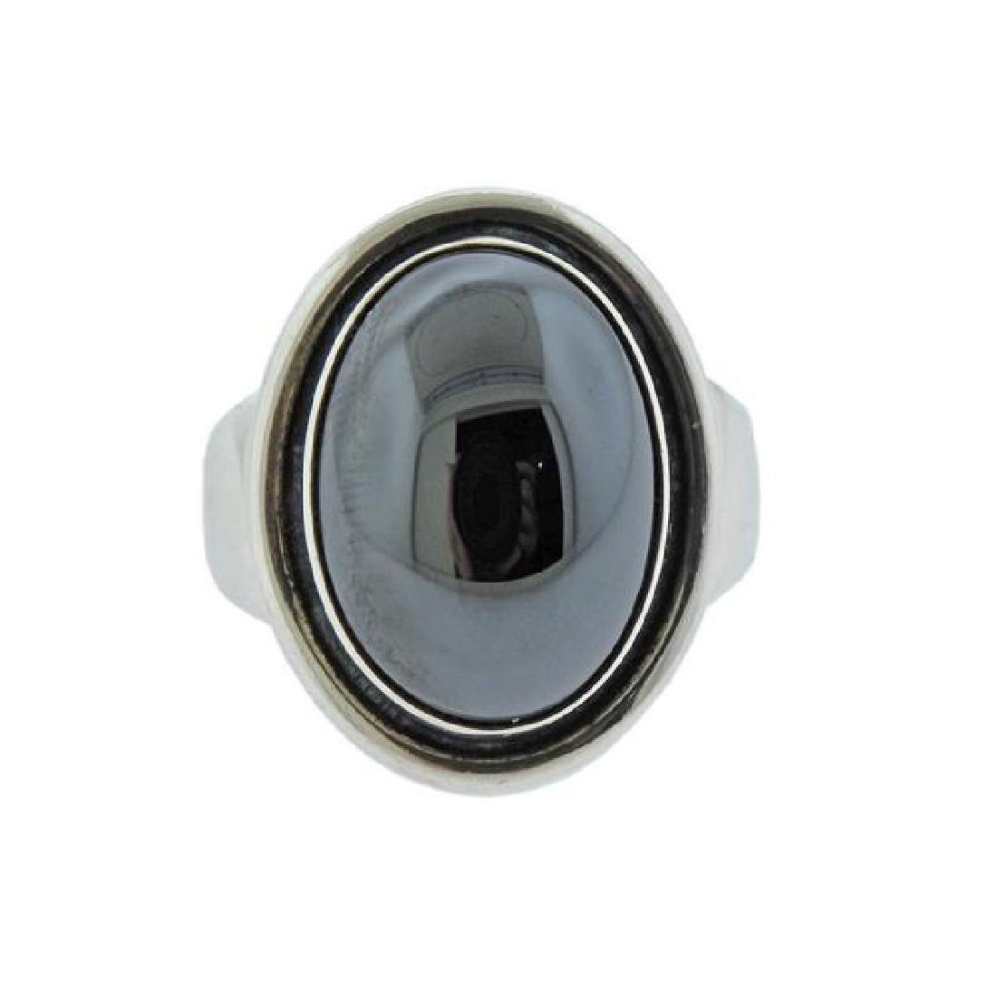 Georg Jensen Sterling Silver Hematite Ring 46A