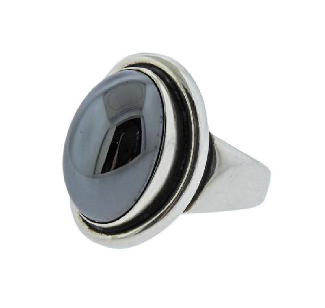 Georg Jensen Sterling Silver Hematite Ring 46A - 2