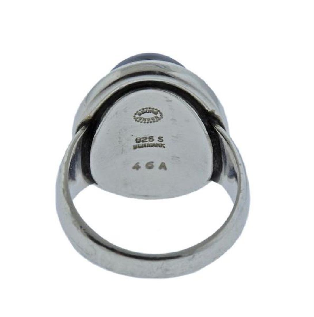 Georg Jensen Sterling Silver Hematite Ring 46A - 3