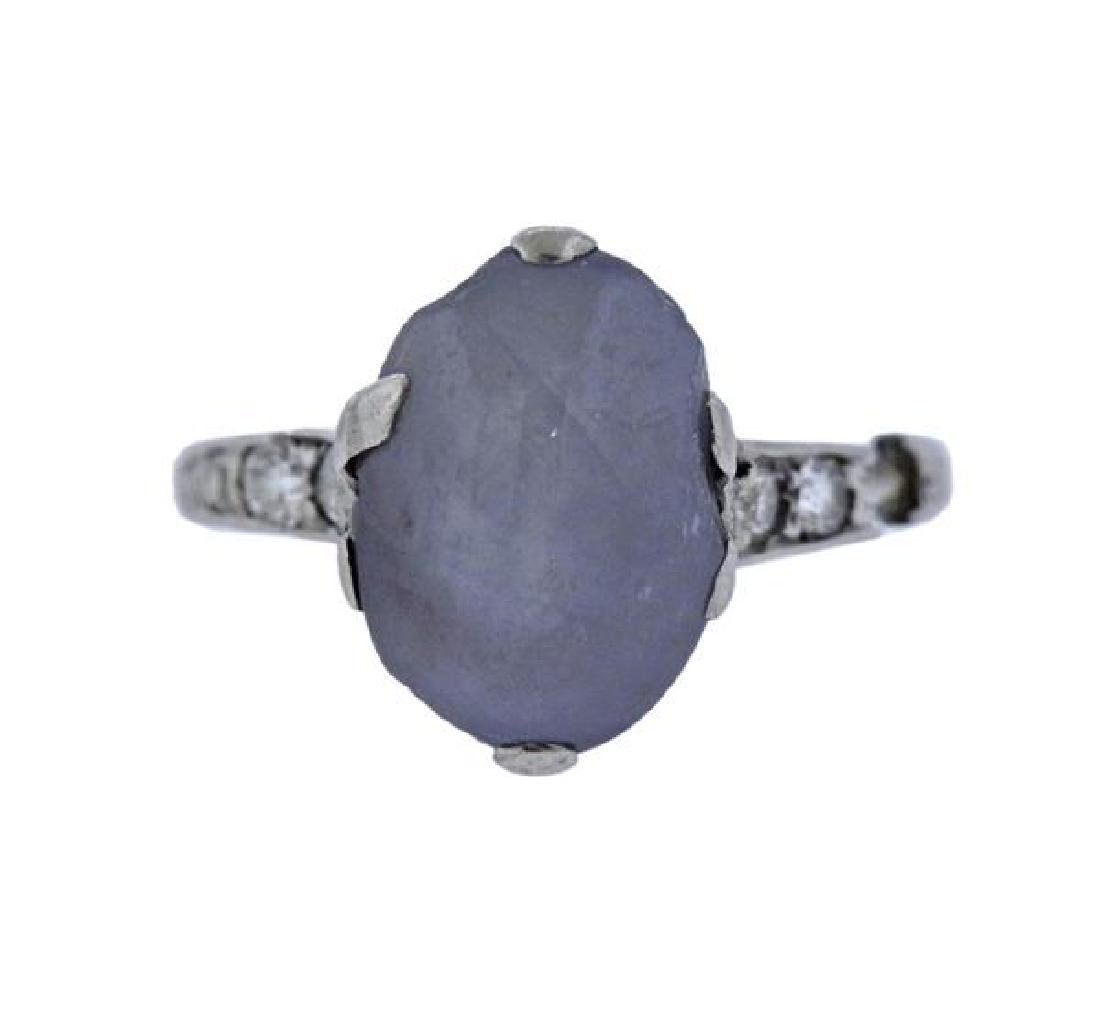 Art Deco Platinum Diamond Star Sapphire Ring