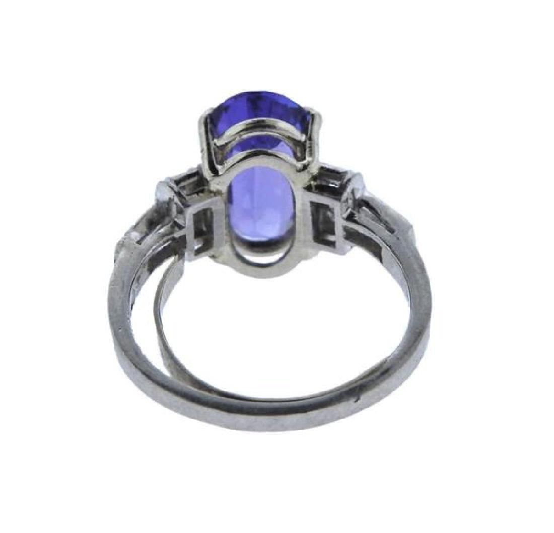 Platinum Diamond Sapphire Ring - 3