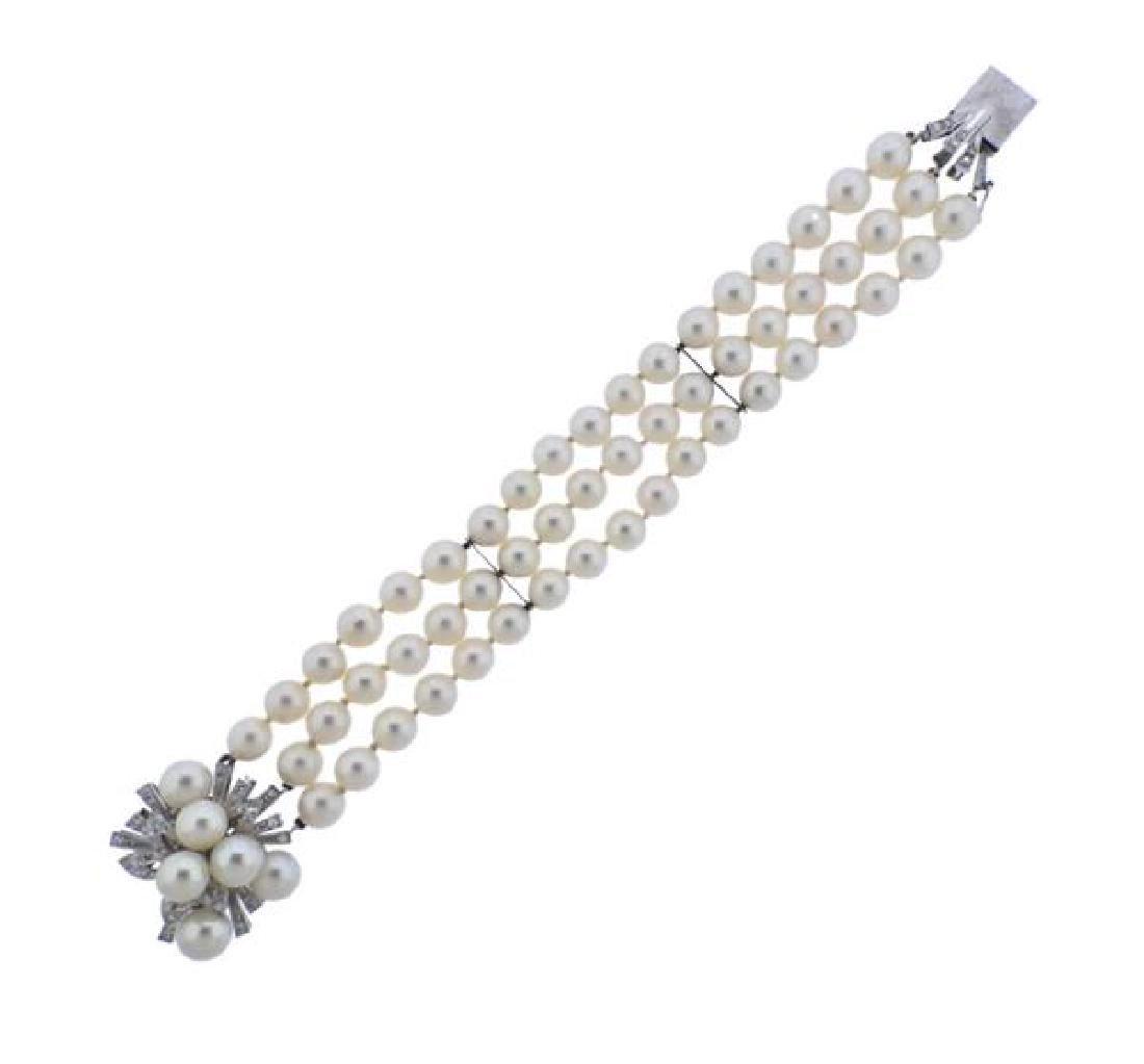 18K Gold Diamond Pearl 3 Strand Bracelet