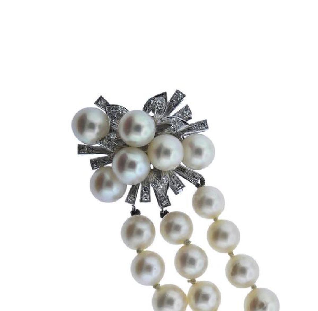 18K Gold Diamond Pearl 3 Strand Bracelet - 2