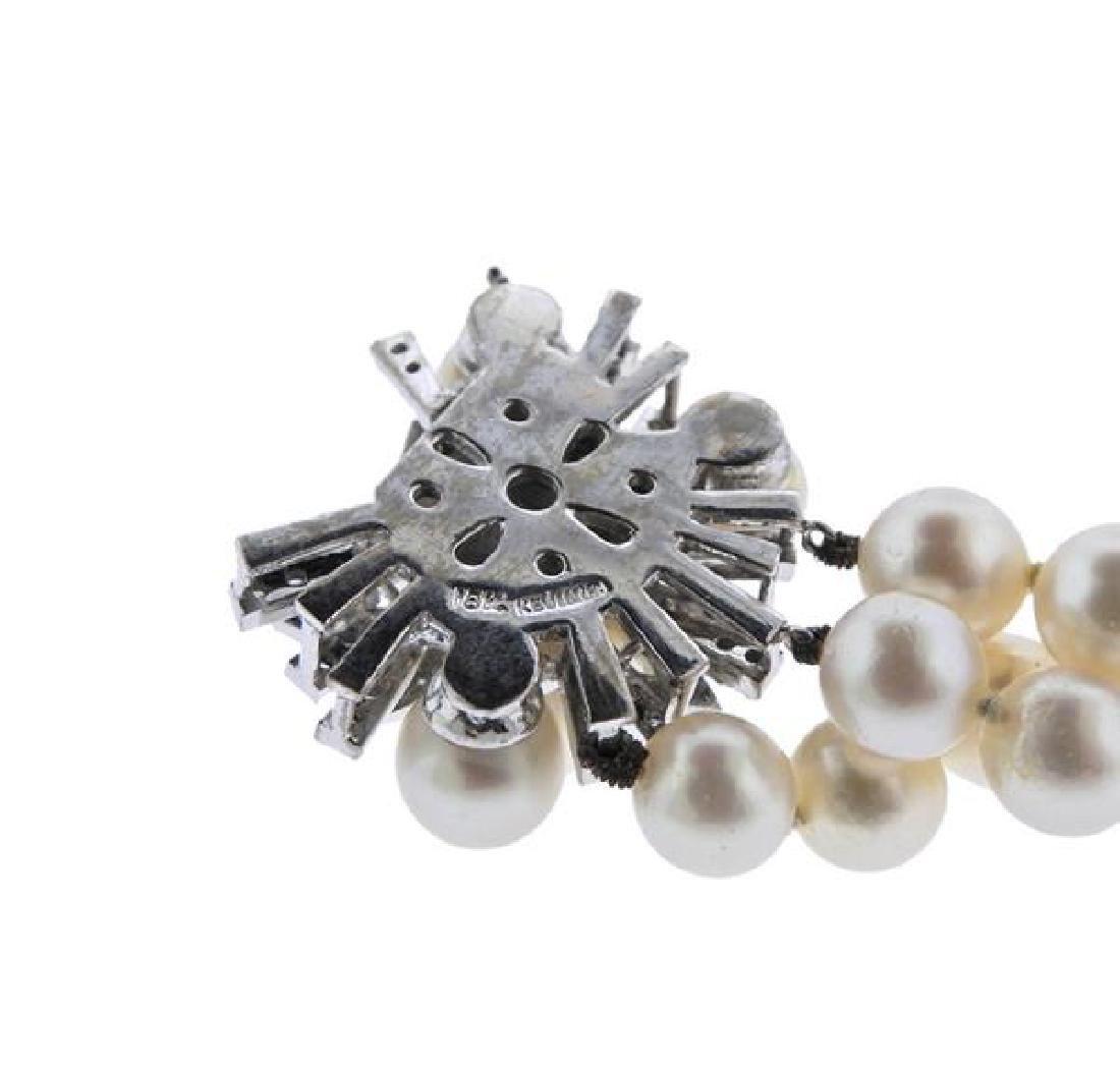 18K Gold Diamond Pearl 3 Strand Bracelet - 3