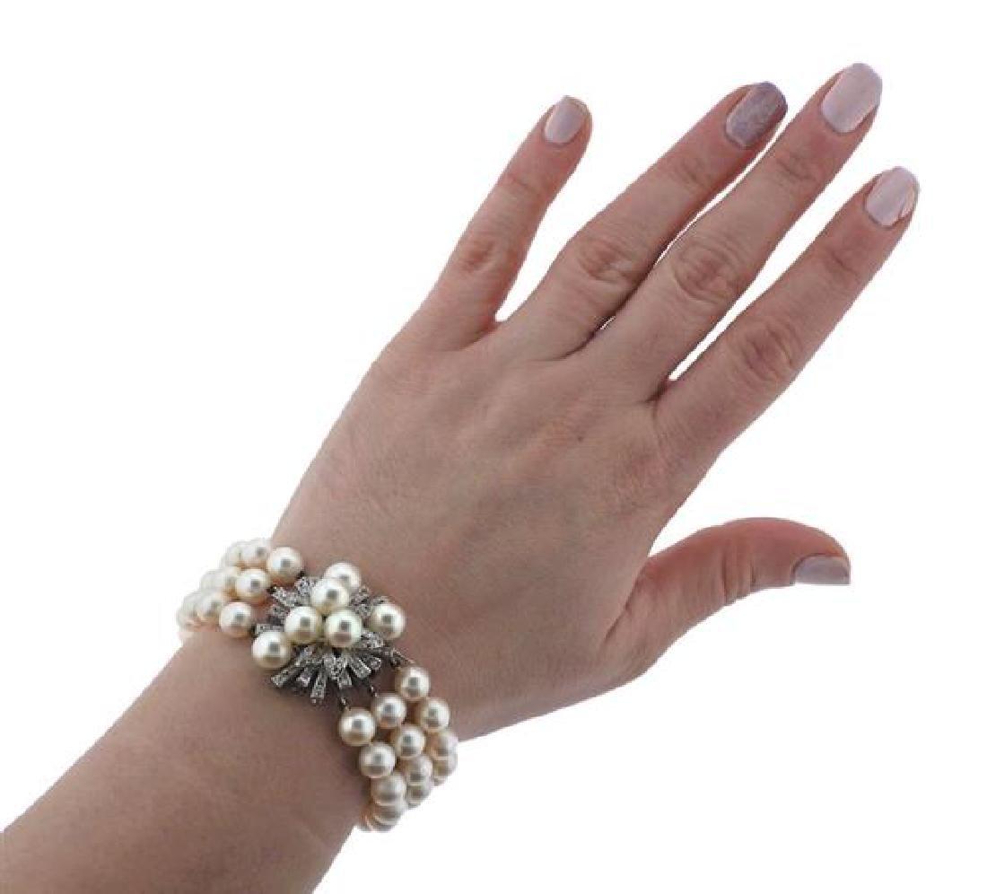 18K Gold Diamond Pearl 3 Strand Bracelet - 4