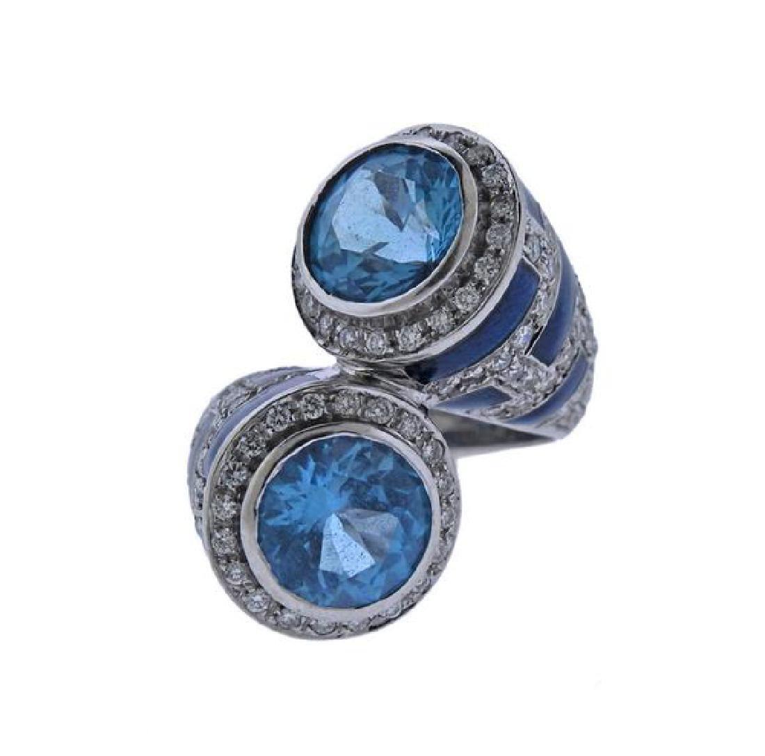 18K Gold Diamond Topaz Enamel Bypass Ring