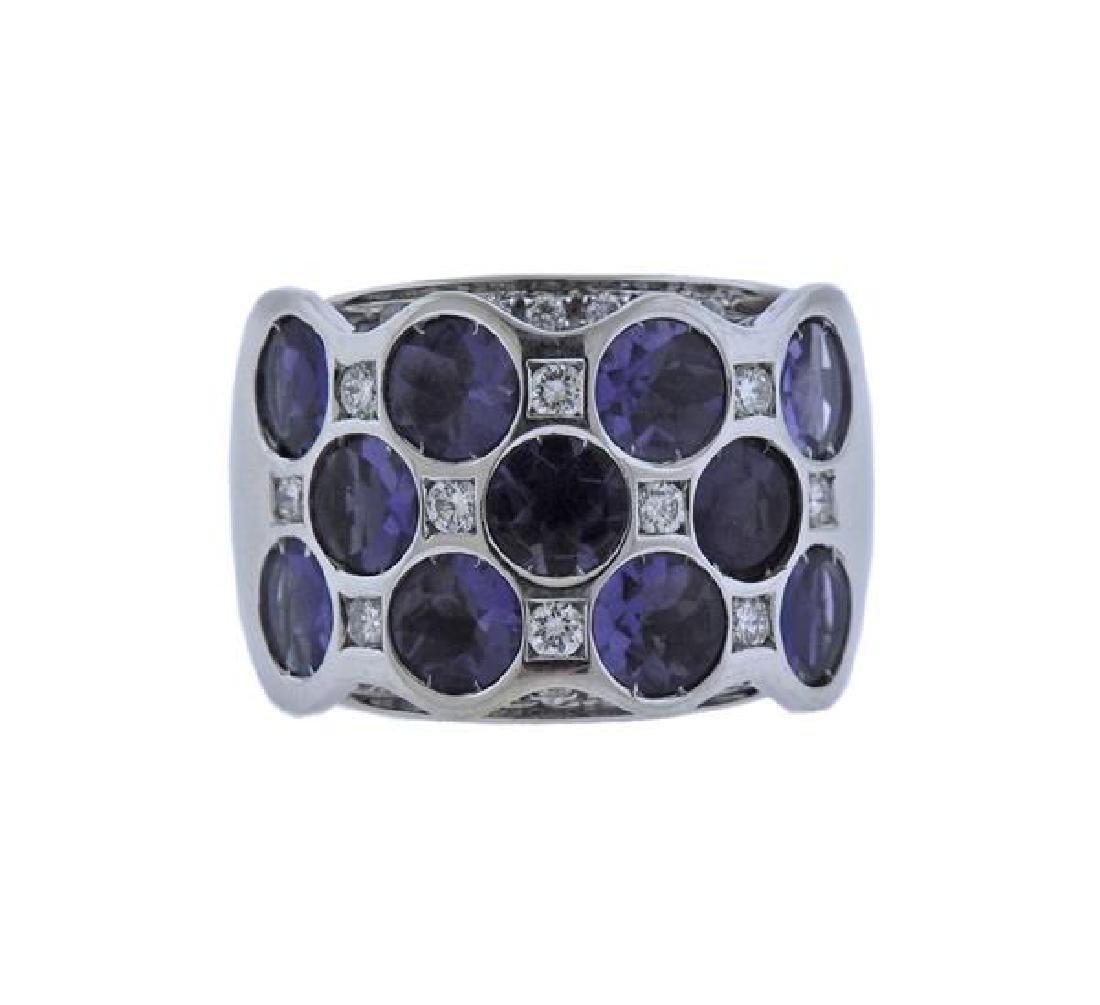 Bibigi 18K Gold Diamond Iolite Wide Band Ring