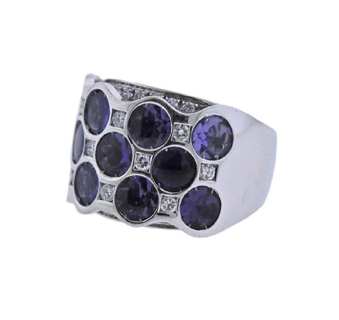Bibigi 18K Gold Diamond Iolite Wide Band Ring - 2