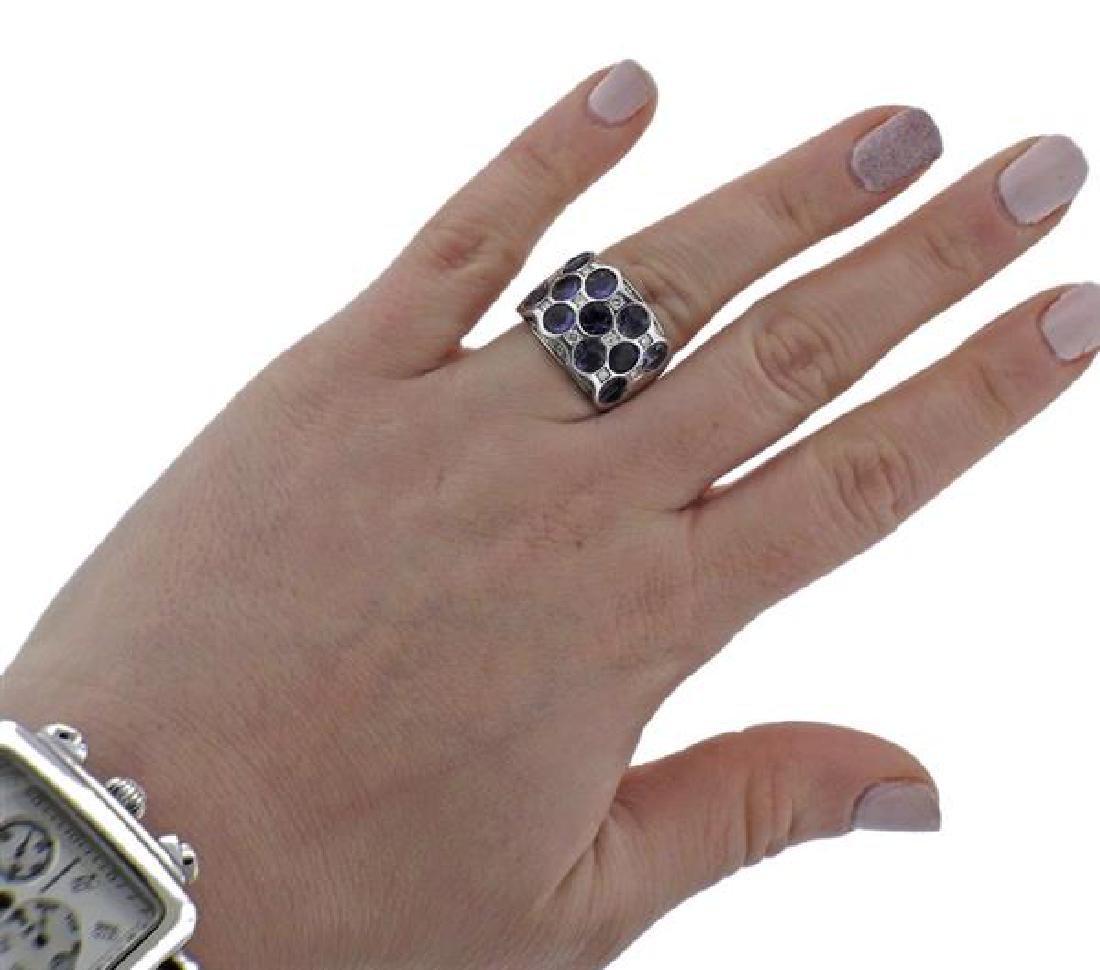 Bibigi 18K Gold Diamond Iolite Wide Band Ring - 4
