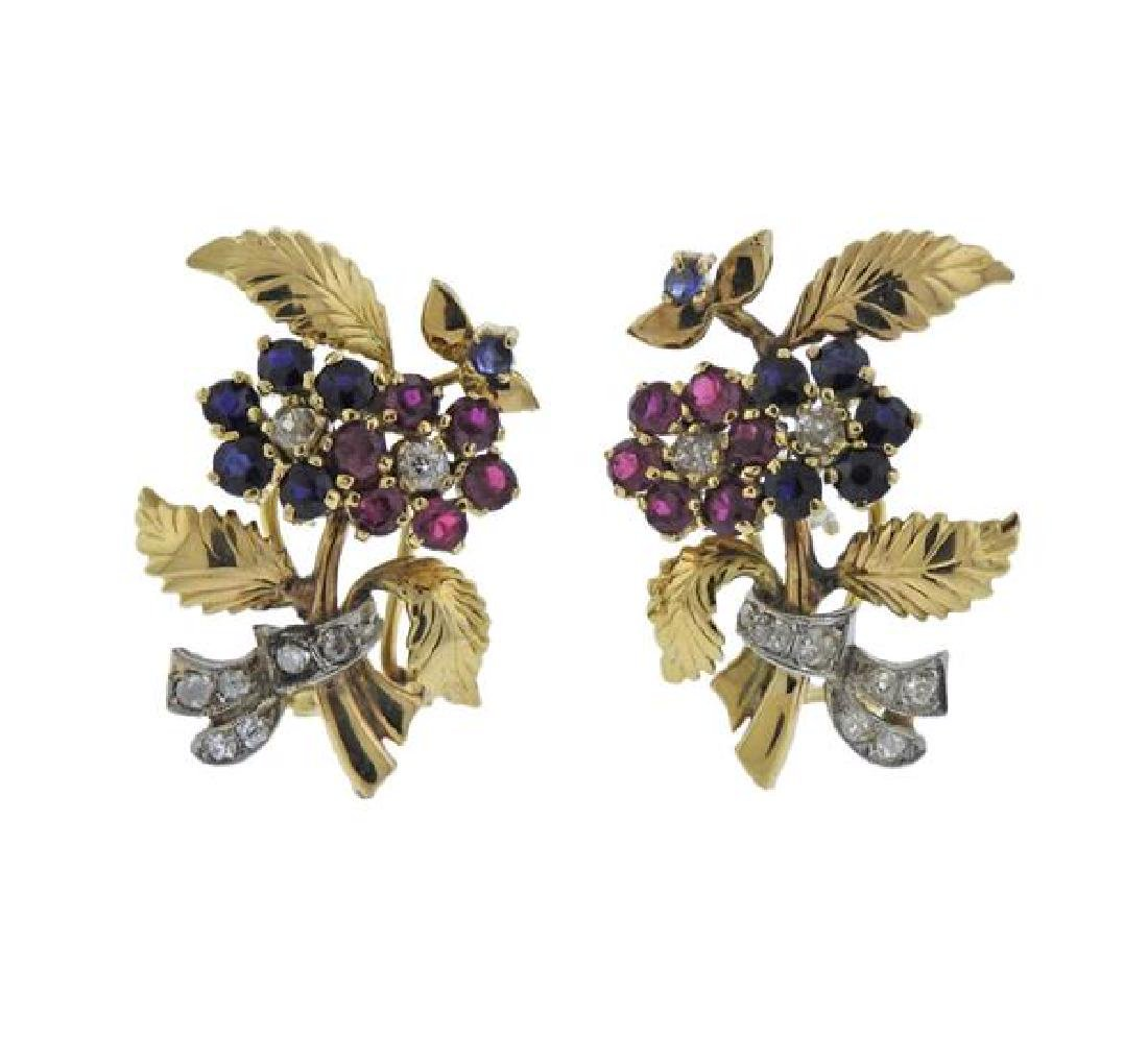 Retro 14K Gold Diamond Ruby Sapphire Flower Earrings