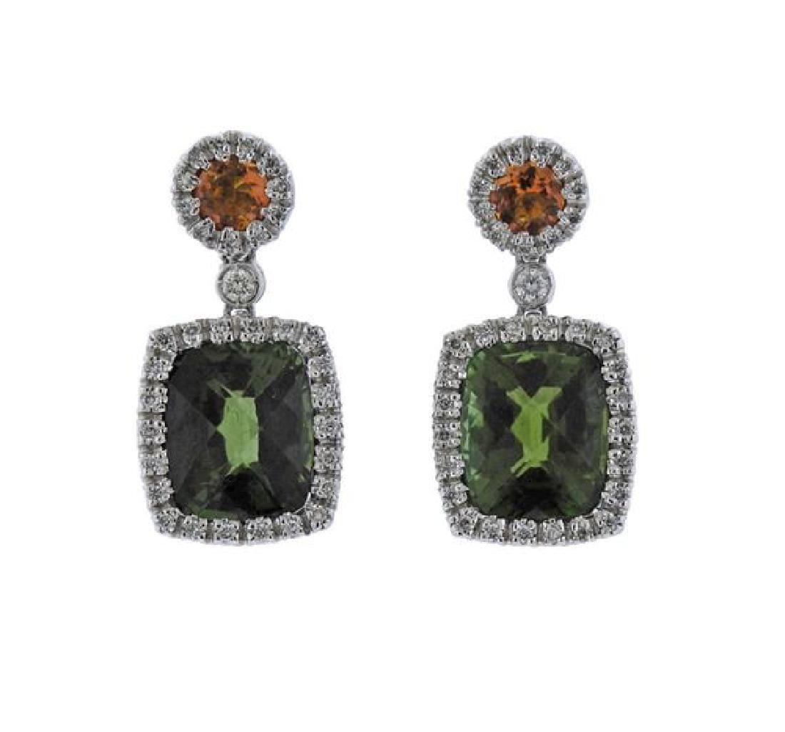 Favero 18K Gold Diamond Tourmaline Citrine Earrings