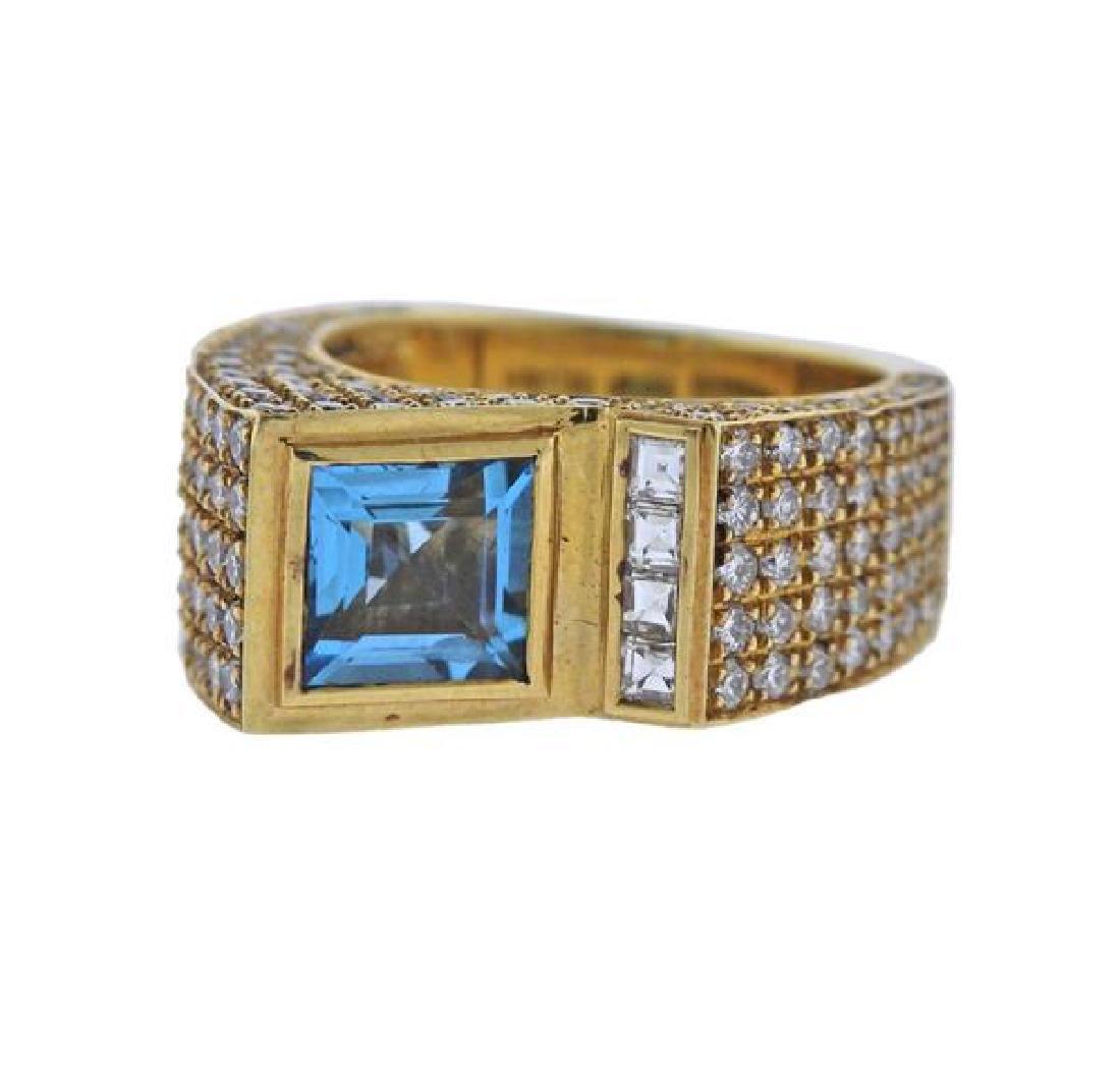 Salavetti Technomarine18K Gold Diamond Topaz Ring