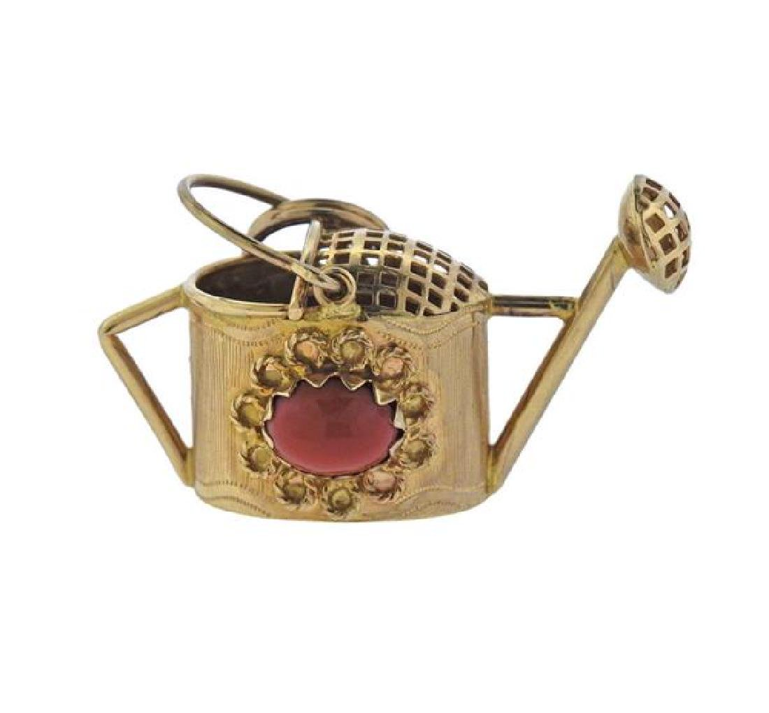 18K Gold Coral Watering Can Charm
