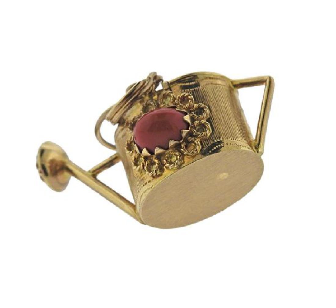 18K Gold Coral Watering Can Charm - 2