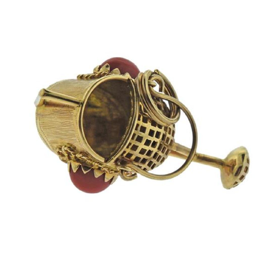 18K Gold Coral Watering Can Charm - 3