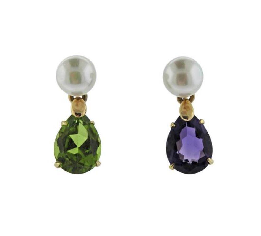 14K Gold Pearl Color Gemstone Drop Earrings