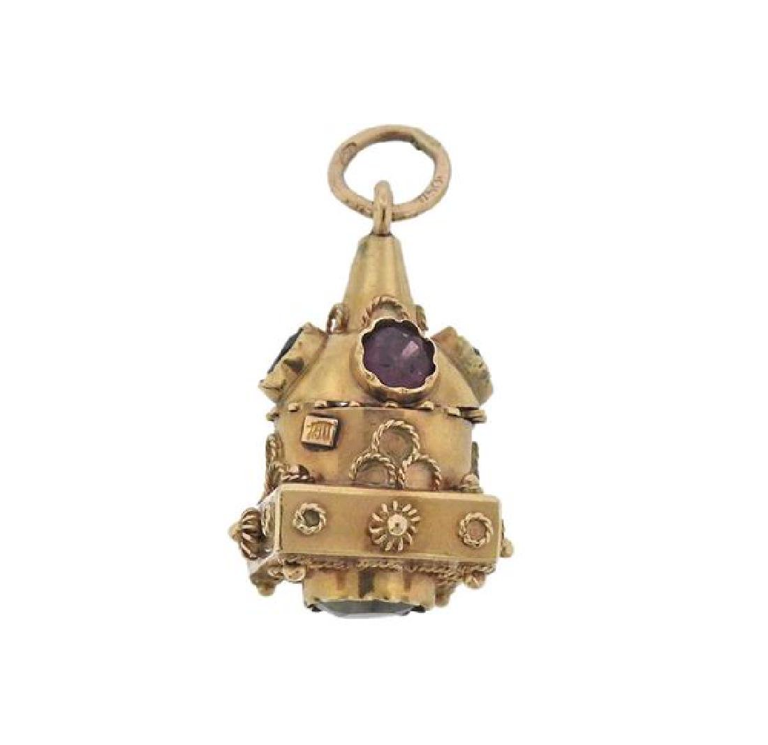Etruscan 18K Gold Multi Stone Charm
