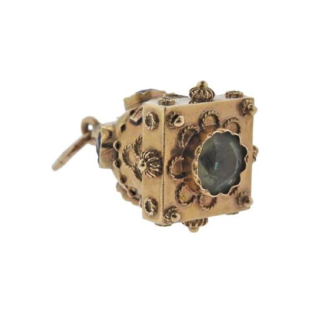 Etruscan 18K Gold Multi Stone Charm - 2