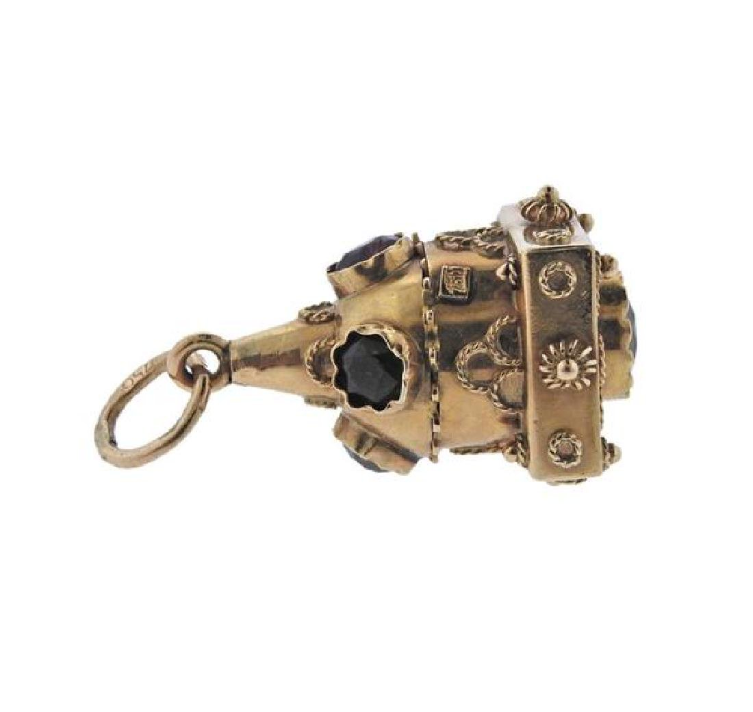 Etruscan 18K Gold Multi Stone Charm - 3