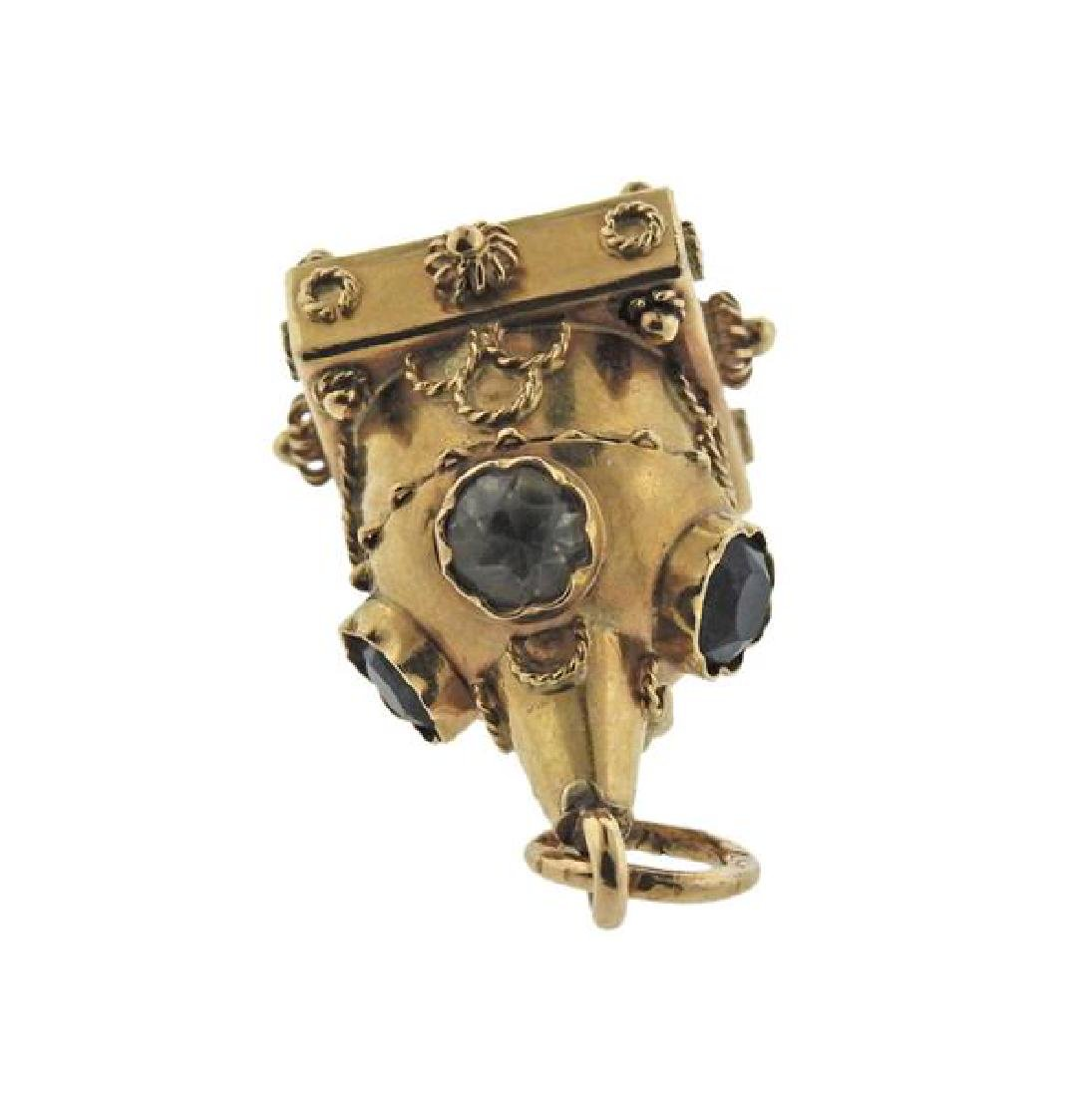 Etruscan 18K Gold Multi Stone Charm - 4