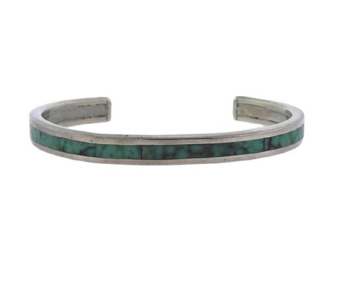 Robin Banteah Silver Green Stone Cuff Bracelet