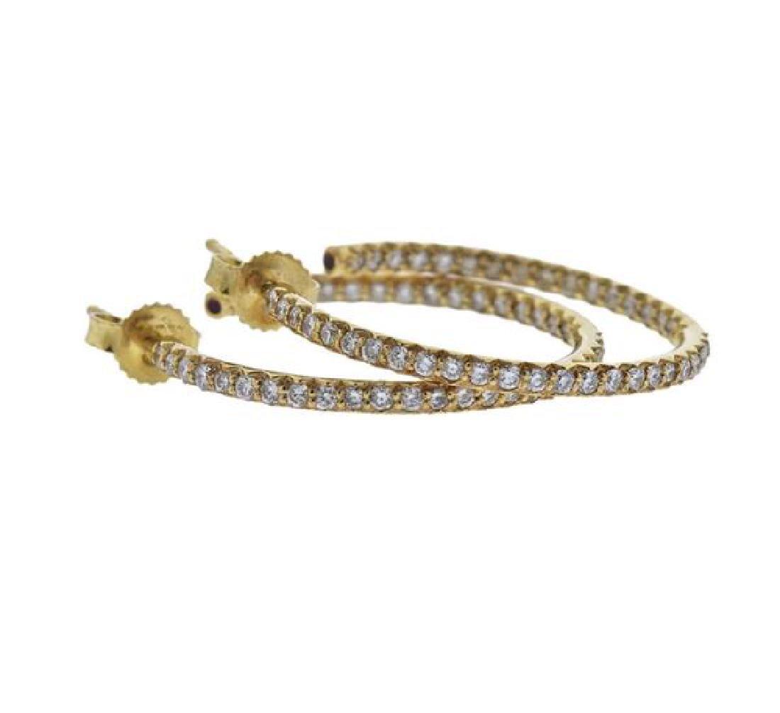 Roberto Coin 18K Gold Diamond Hoop Earrings