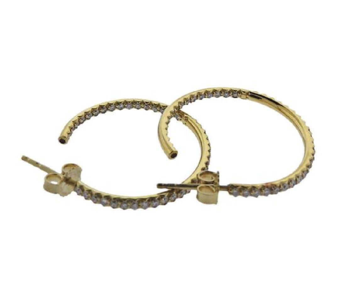 Roberto Coin 18K Gold Diamond Hoop Earrings - 2